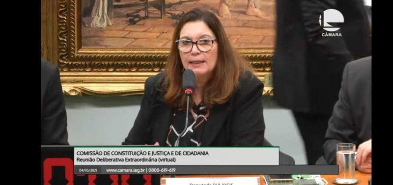 Reunião da CCJ presidida pela deputada Bia Kicis - (Foto: Youtube/Reprodução 04.05.2021)